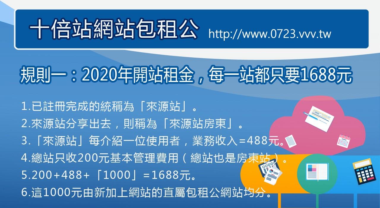 規則一:2020年的開站租金,每一站都只要1688元 ...